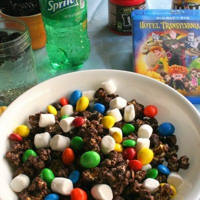 DIY Dark Chocolate Popcorn with M&Ms and Marshmallows