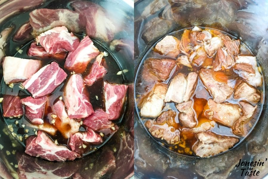 collage of the pork shoulder before and after being cooked