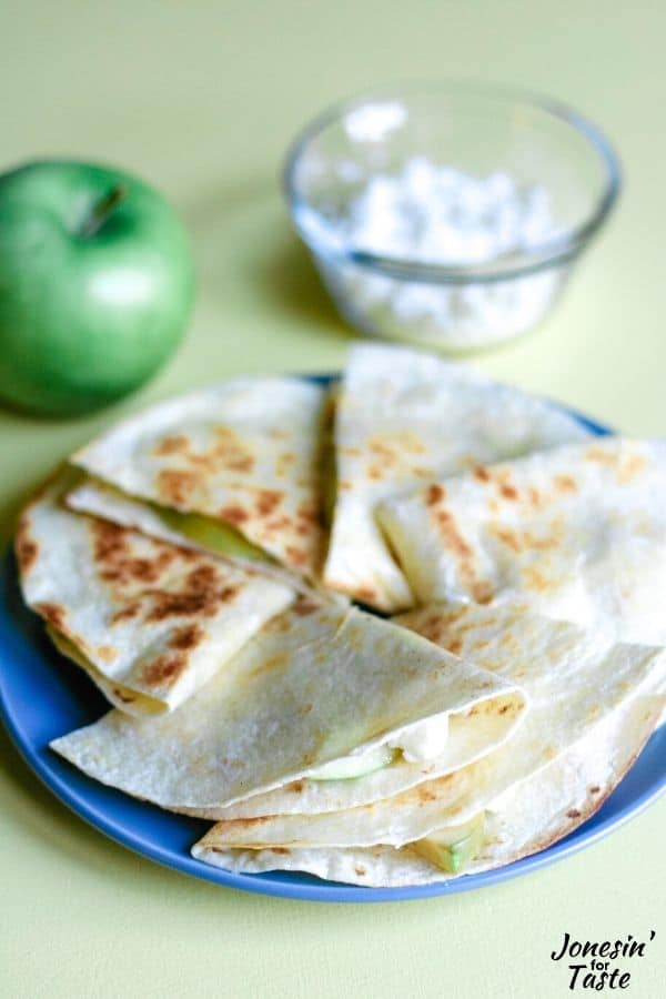 Apple Feta Quesadillas combine tart apples and salty feta for a not so traditional but extra flavorful take on the usual quesadilla.
