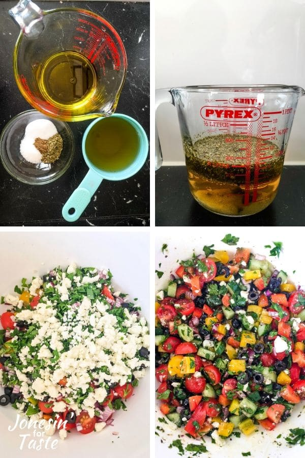 collage showing steps to make the dressing and salad