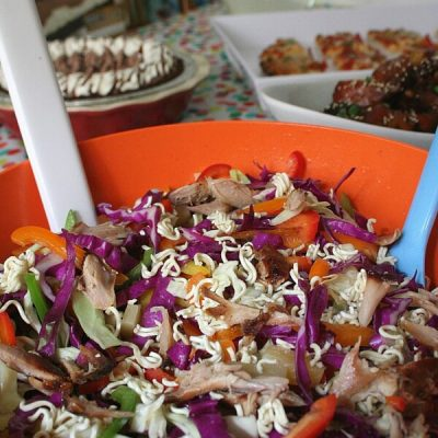 Red Baron pizzas and Edward's pies accompany Slow Cooker Honey Glazed Chinese Chicken Wings and Pineapple Rainbow Slaw for a stress free game day meal.