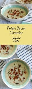 A bowl of this easy Potato Bacon Chowder is quick to make and wonderfully comforting with creamy potato broth, chunks of potatoes, and crispy bacon.