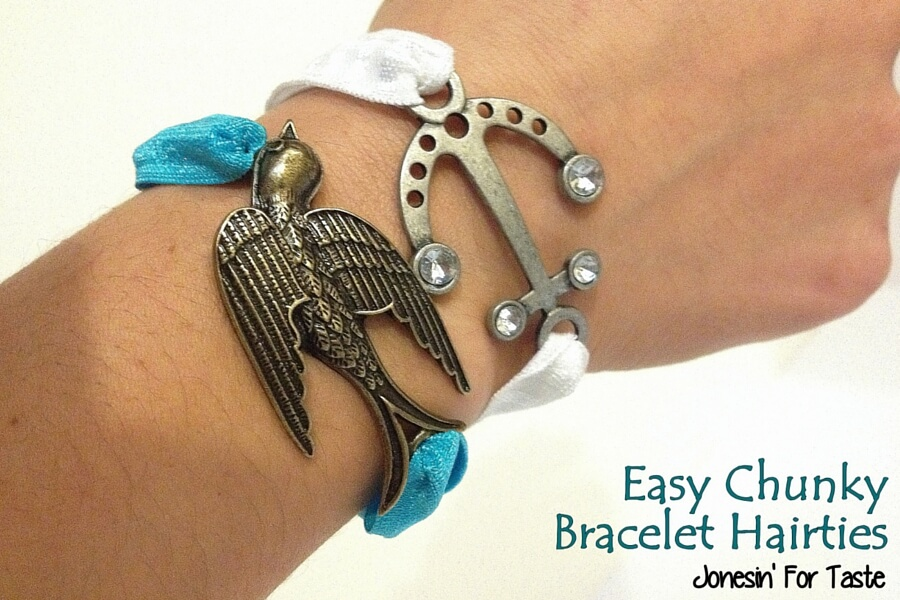 Easy Chunky Bracelet Hairties so simple they can be finished in just a few minutes to dress up your arm or your hair.