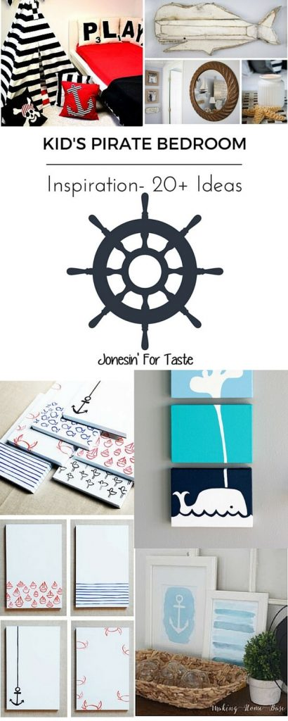 20+ ideas for a fantastic Pirate themed kid's room, perfect to pair on it's own or with a mermaid theme for a perfect mixed-gender bedroom.