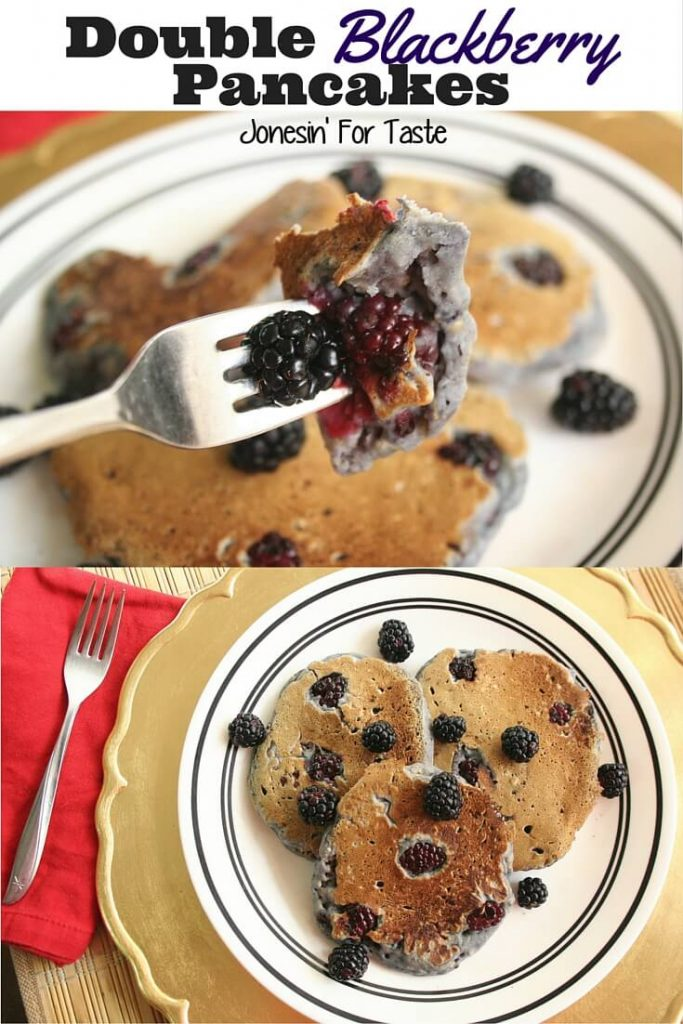 Loaded with mashed and whole blackberries these Double Blackberry Pancakes are sure to be a hit at breakfast!