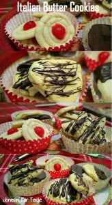 A collage showing different variations of decorating the cookies