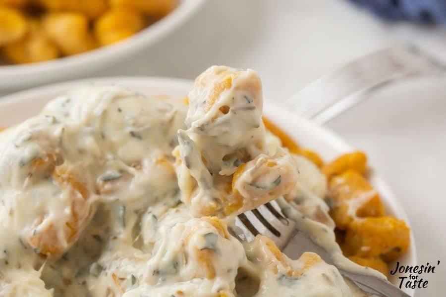 Pumpkin Gnocchi with a quick and simple Parmesan cream sauce-Check out May's Ultimate Recipe Challenge with over 35 pasta recipes.