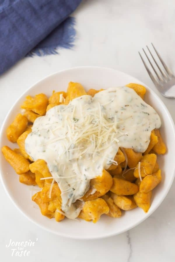 Pumpkin Gnocchi with Parmesan Cream Sauce