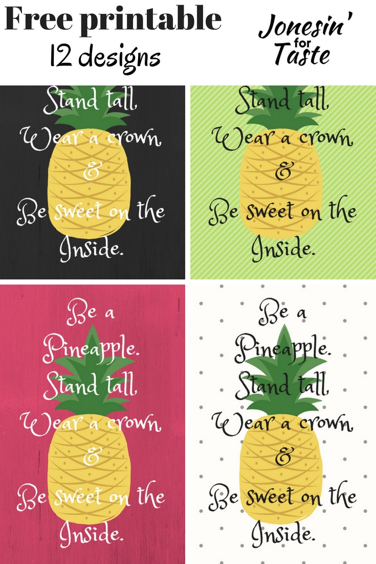 a collage showing 4 different be a pineapple colors and designs