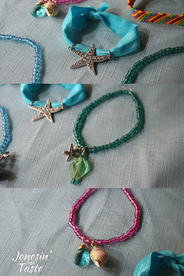collage showing various ocean themed bracelets