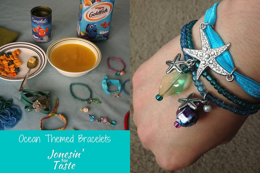 a collage showing Finding Dory themed Campell's products and bracelets