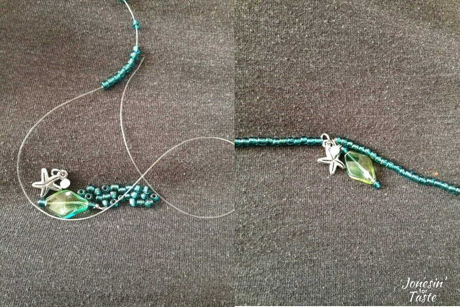 collage showing how to thread beads on a cord