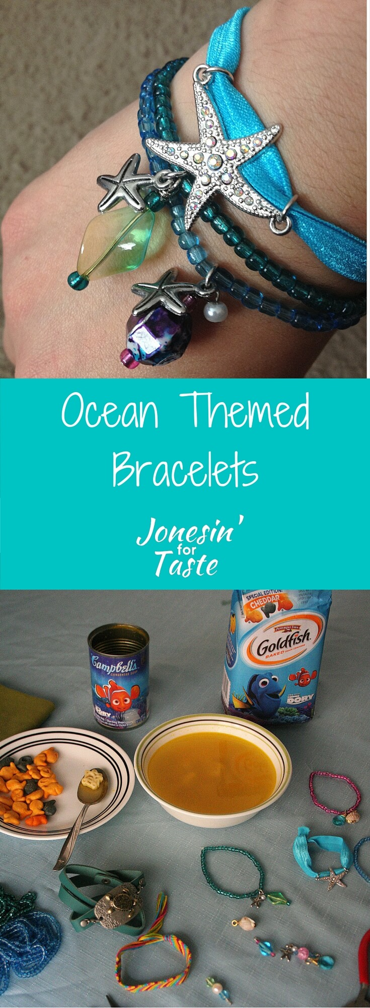 #ad Simple ocean themed bracelets made with starfish charms are a great way to celebrate summer and Disney Pixar's Finding Dory. #jonesinfortaste #easycrafts #kidscrafts #findingdory #summerfun