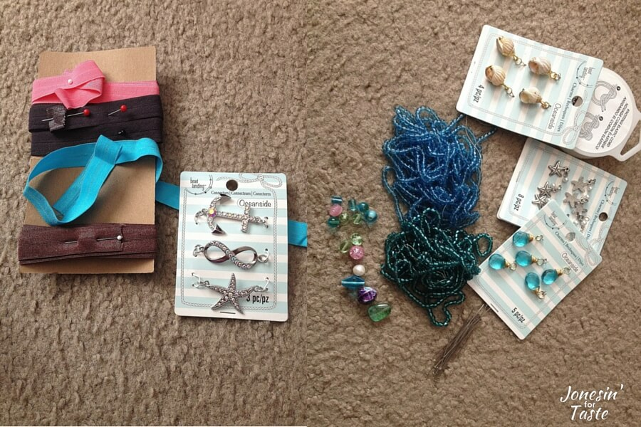 supplies needed to make simple ocean themed bracelets