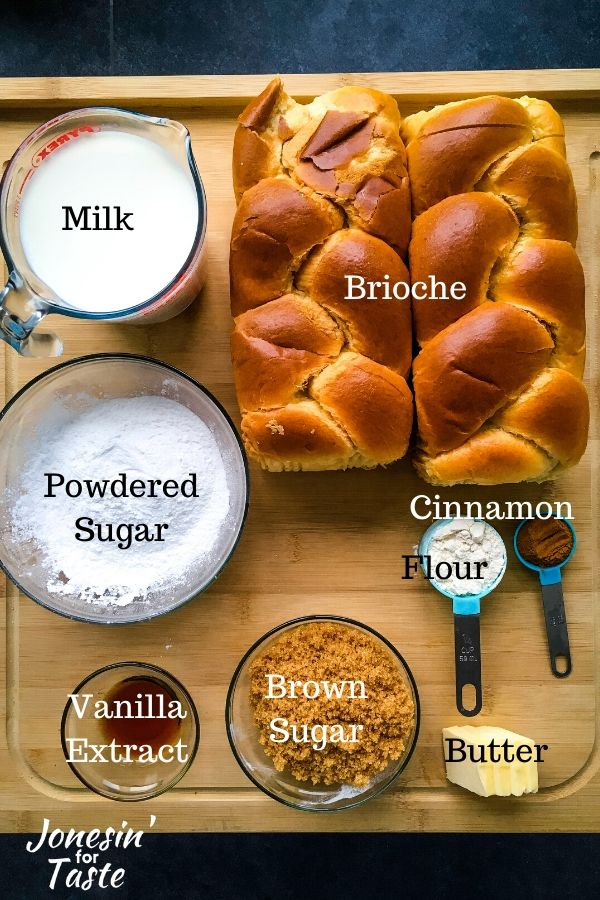 ingredients to make cinnamon roll french toast bake
