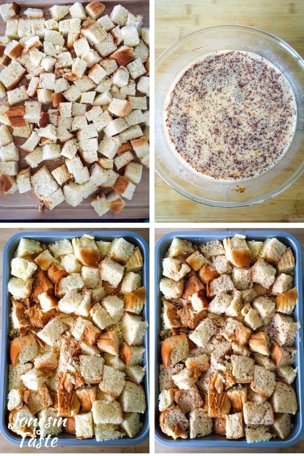 pre-baking steps to making the breakfast casserole
