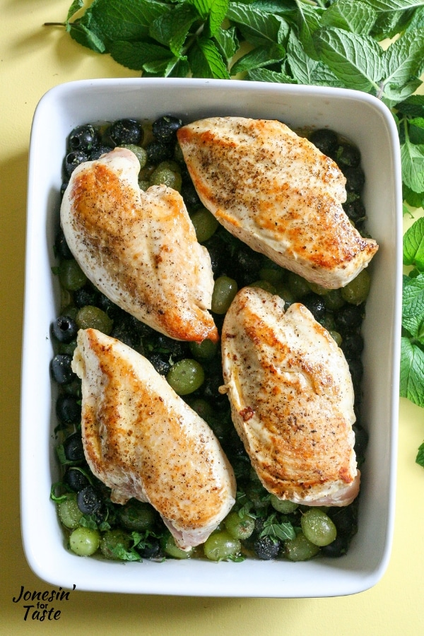 Browned chicken in a dish
