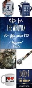 A Doctor Who gift guide with over 30 items under $30 to help you find the perfect gift for your favorite Whovian.