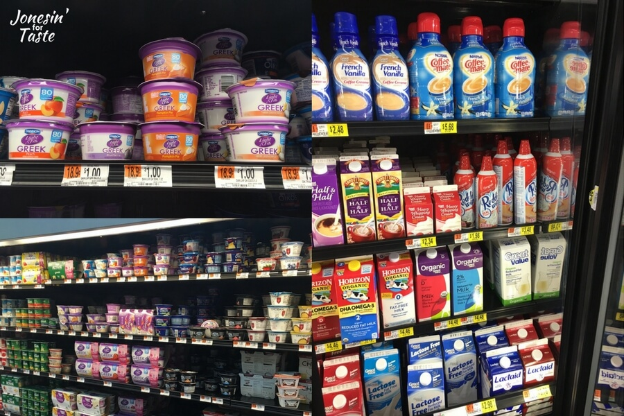 A collage of pictures showing where Reddi-Wip and Pumpkin yogurt in the store