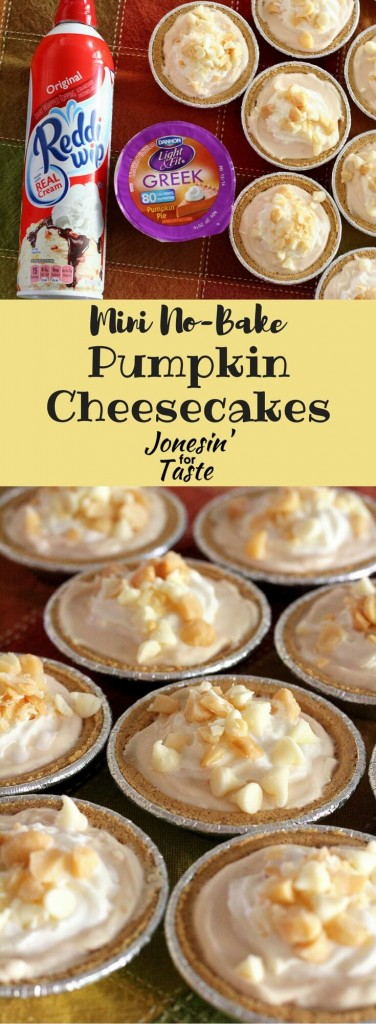#EffortlessPies #CollectiveBias You need just 6 ingredients to make this luscious lightened up Mini No-Bake Pumpkin Cheesecake that takes only 10 minutes to make!