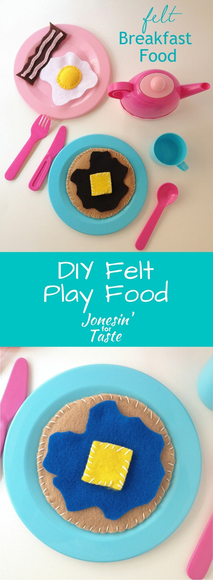 Simple DIY felt breakfast food made from inexpensive felt to inspire your budding chef's imagination. Free patterns included!
