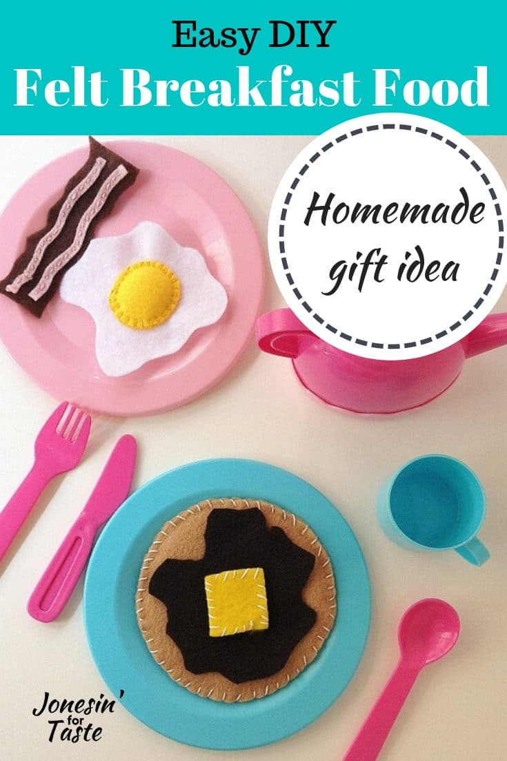 Encourage your kids during playtime to enjoy their breakfasts with this simple and easy DIY felt breakfast food. With free patterns and some felt and thread, this is a quick homemade gift idea you can make today! This adorable set includes pancakes, syrup, butter, bacon, and eggs. Everything a hungry child or stuffed animal would want. #homemade #giftidea #felt #playfood #kidscrafts