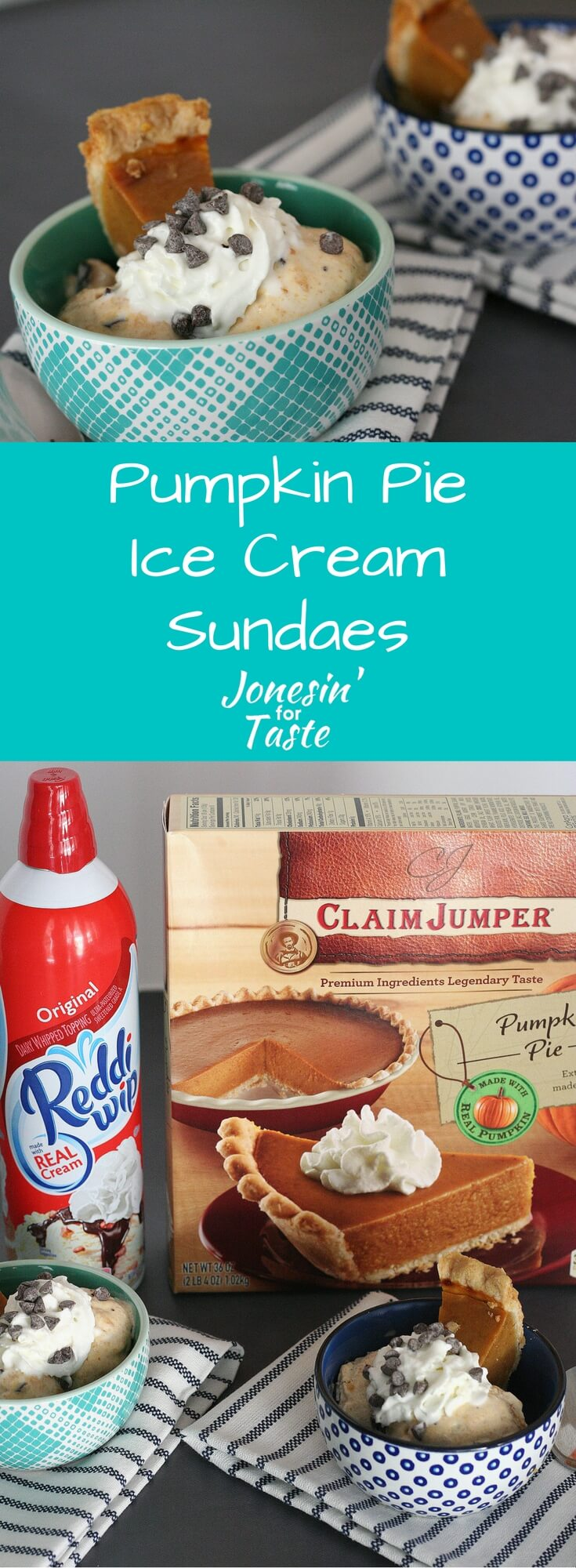 Have leftover pumpkin pie? Use the pie to create a new dessert into these Pumpkin Pie Ice Cream Sundaes to reinvent those leftovers! #pumpkinpie #icecreamsundaes