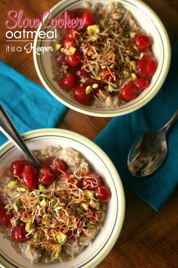 Slow Cooker Steel Cut Oatmeal is an easy overnight oatmeal made with steel cut oats and flavored with coconut, pistachios, and cherries.