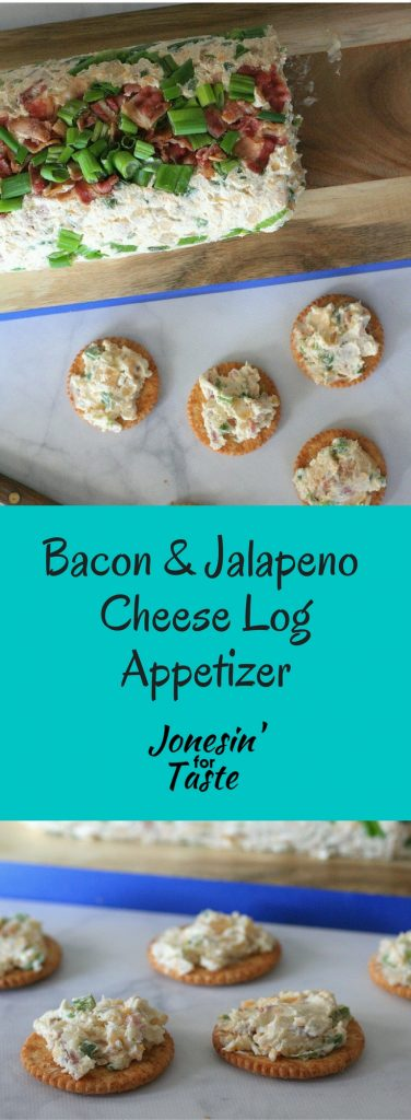 This Bacon and Jalapeno Cheese Log is an easy appetizerwith a little bit of heat and a lot of bacon with creamy cheese for a delicious and easy cheese spread.