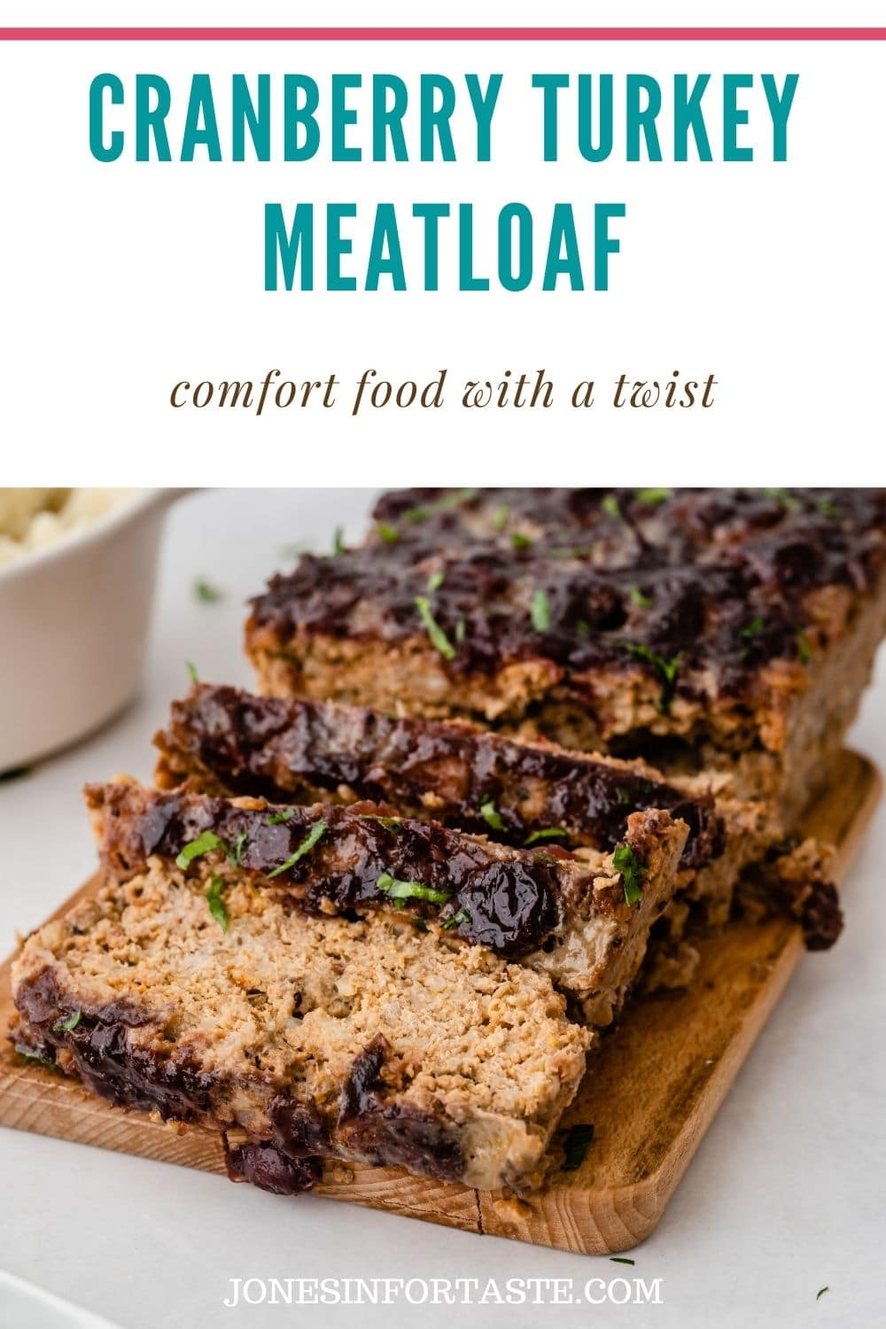 Cranberry Turkey Meatloaf is a lighter twist on classic meatloaf with a cranberry sauce glaze and a combination of ground turkey and oatmeal.