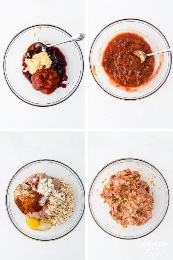 a collage showing the first steps to making the meatloaf