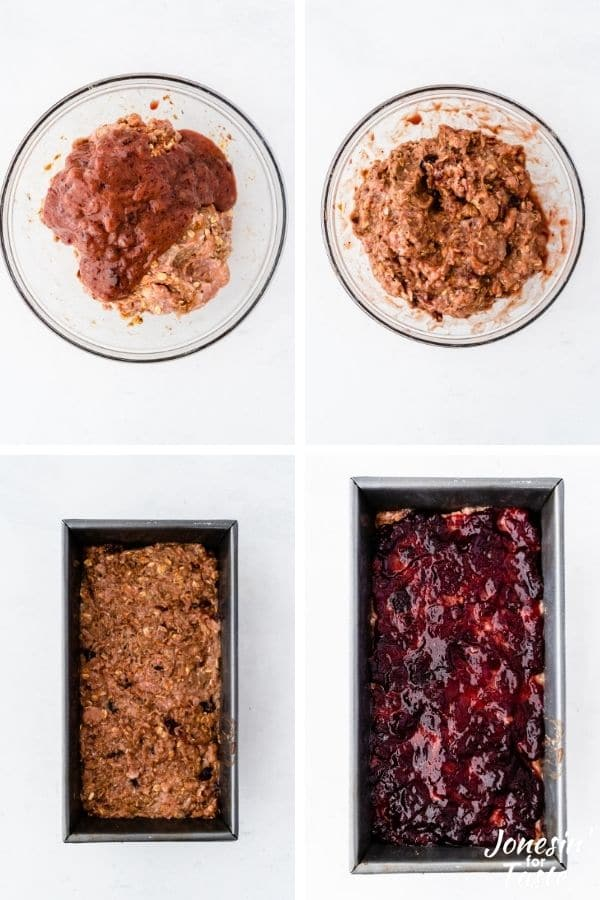 showing the steps to forming the meatloaf and prepping it for baking