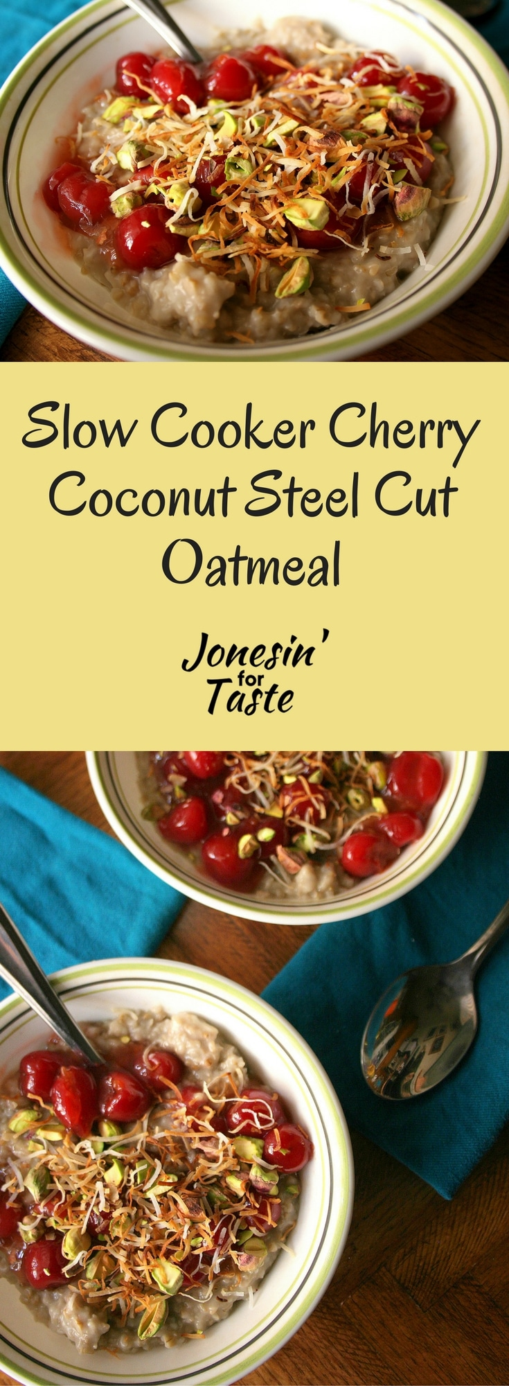 Slow Cooker Cherry Coconut Steel Cut Oatmeal is a different oatmeal & easy overnight breakfast dish topped with cherries, toasted coconut, and pistachios. #slowcooker #easybreakfastrecipes #oatmealrecipes