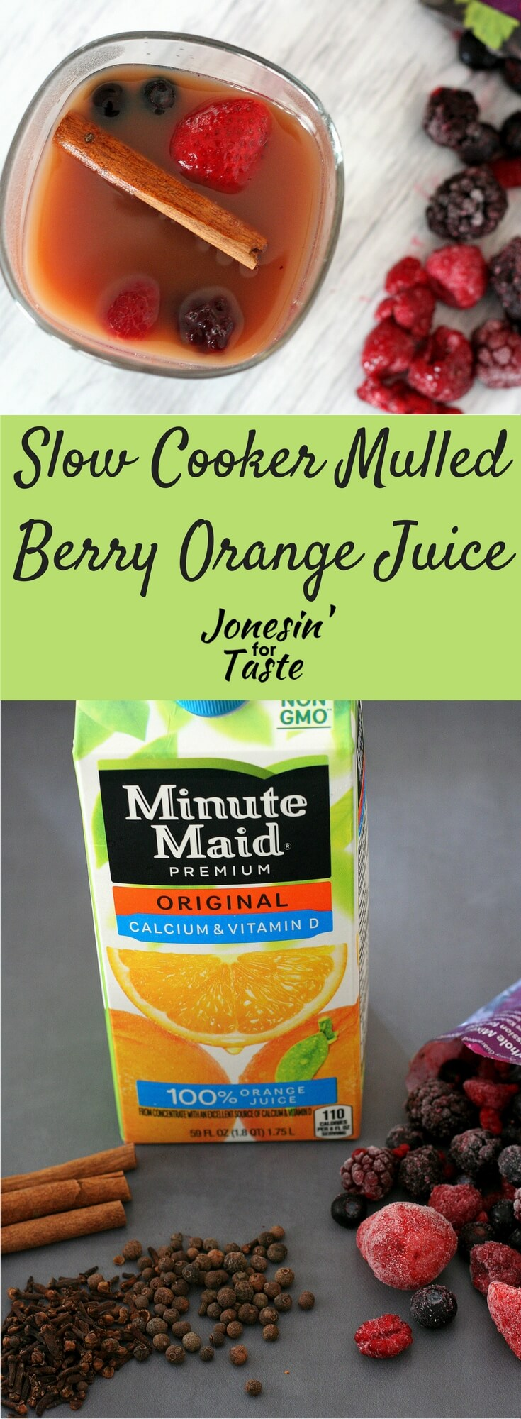 Simple Slow Cooker Mulled Berry Orange Juice is a non-alcoholic beverage made with frozen berries, spices, and OJ that is fantastic for the holidays.  #mocktails #slowcookerdrinks