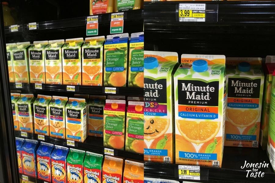 orange juice on the shelves in store