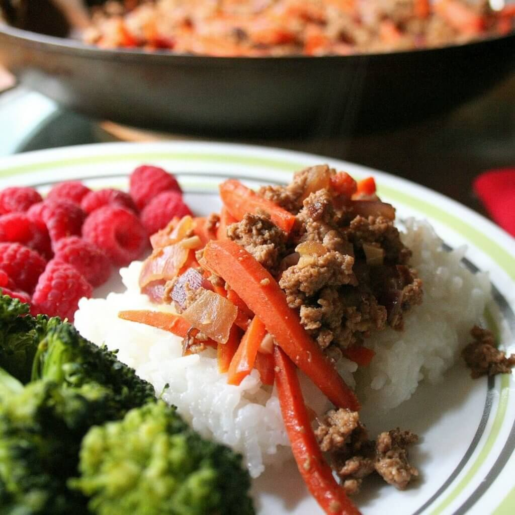30 Minute Hamburger and Carrot Skillet Meal