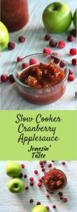 Slow Cooker Cranberry Applesauce is a perfect overnight slow cooker recipe. We love it over oatmeal, pancakes, and waffles- it's a great alternative to syrup!