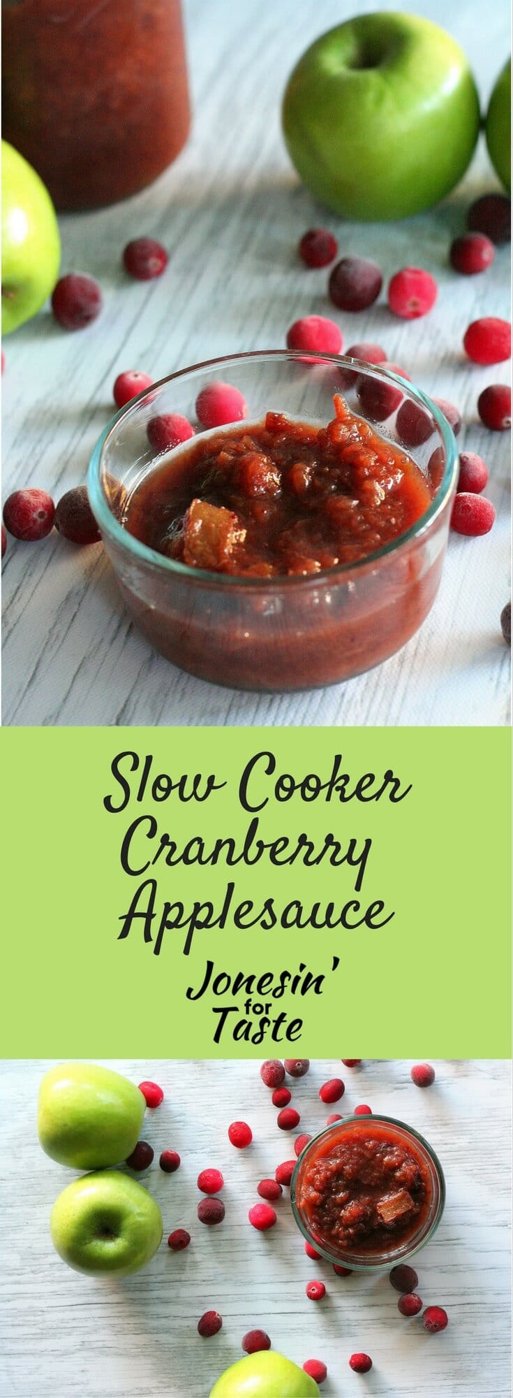 Slow Cooker Cranberry Applesauce is an overnight slow cooker recipe & delicious served over oatmeal, pancakes, and waffles as an alternative to syrup!
