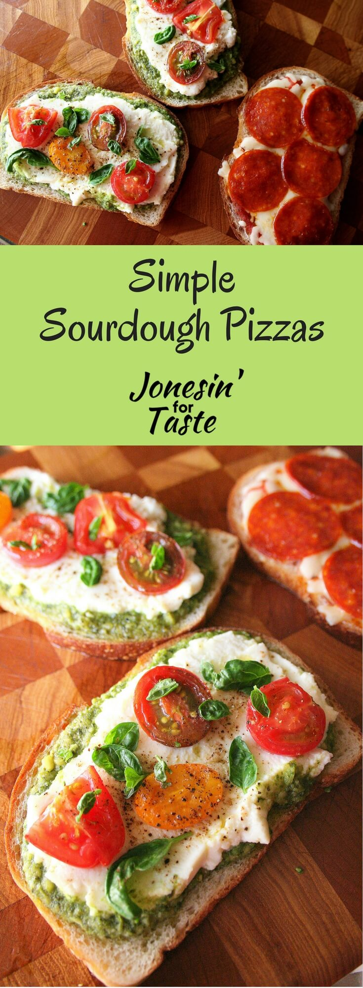 Simple Sourdough Pizzas top sourdough bread with your favorite pizza toppings. It cooks quickly and is the perfect solution for a busy weeknight pizza craving. #easypizzarecipes #easymeals