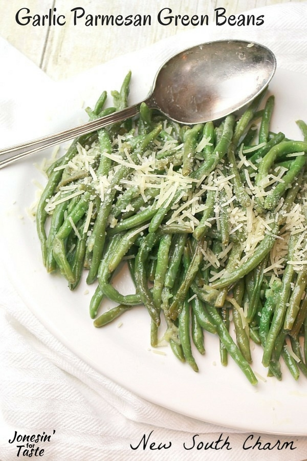 Parmesan Garlic Green Beans in a serving dish with spoon.