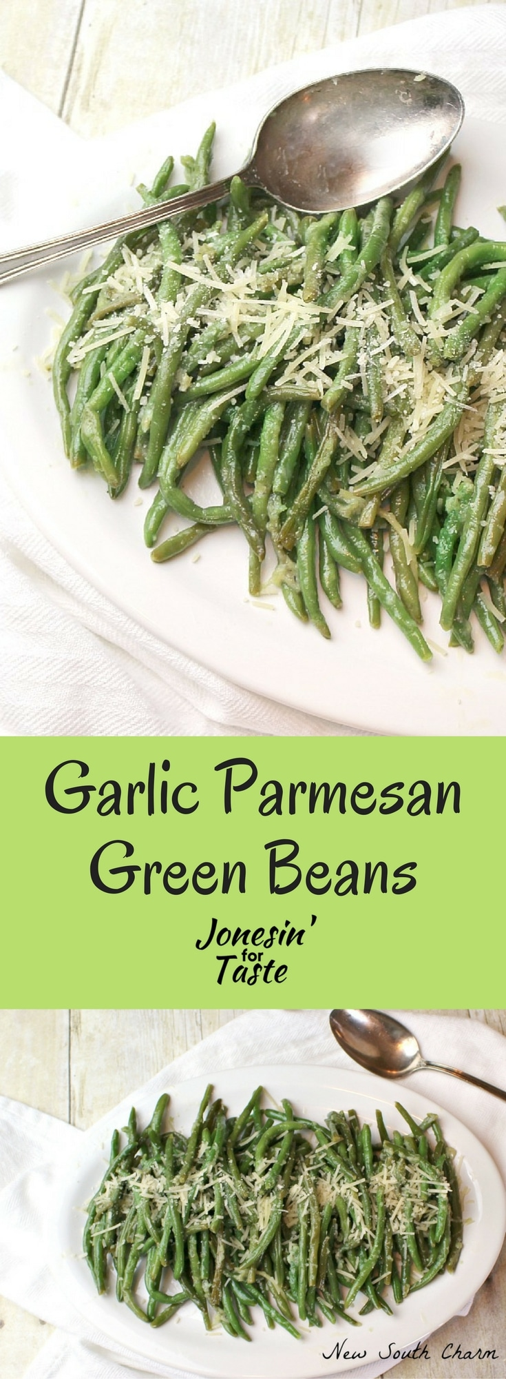 Parmesan Garlic Green Beans are the perfect side dish easily made in under 20 minutes and simply seasoned with classic flavors of parmesan and garlic.