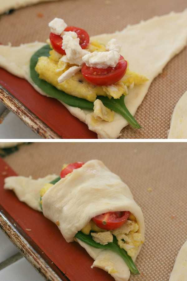 A collage showing how to wrap a filled breakfast croissant