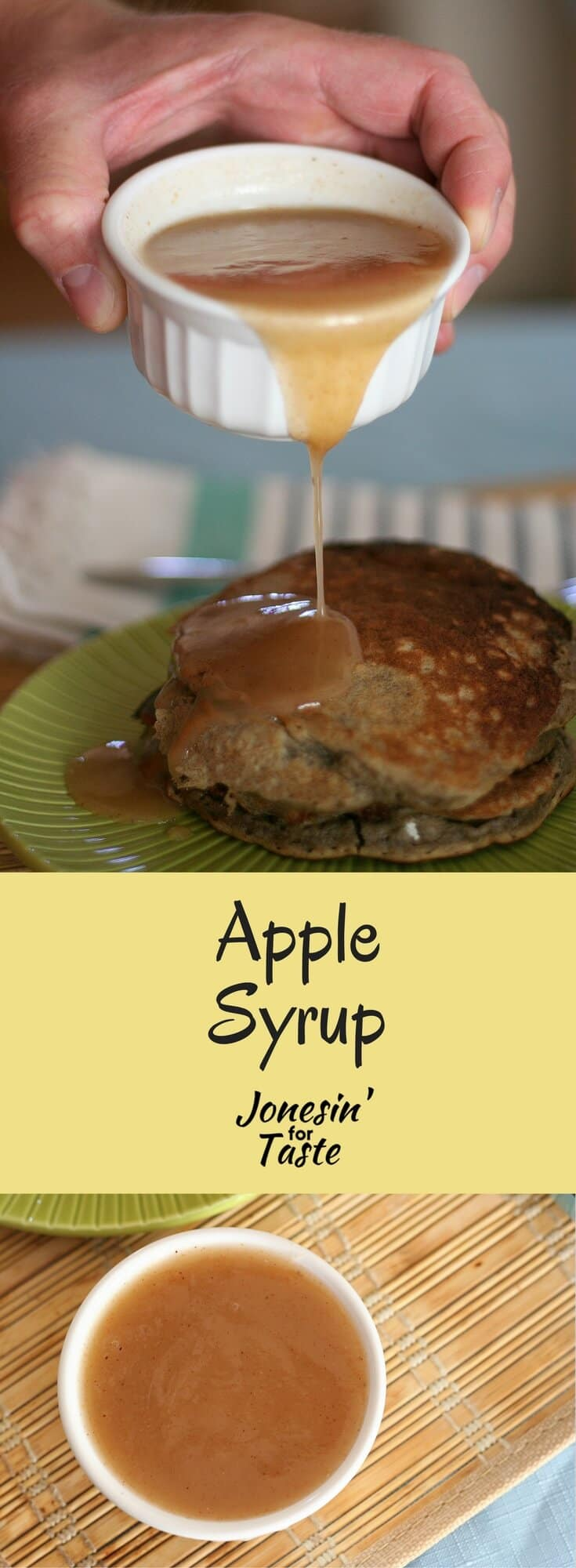 Apple syrup is a quick homemade syrup made with apple juice, Bisquik mix, and cinnamon that is delicious over pancakes.