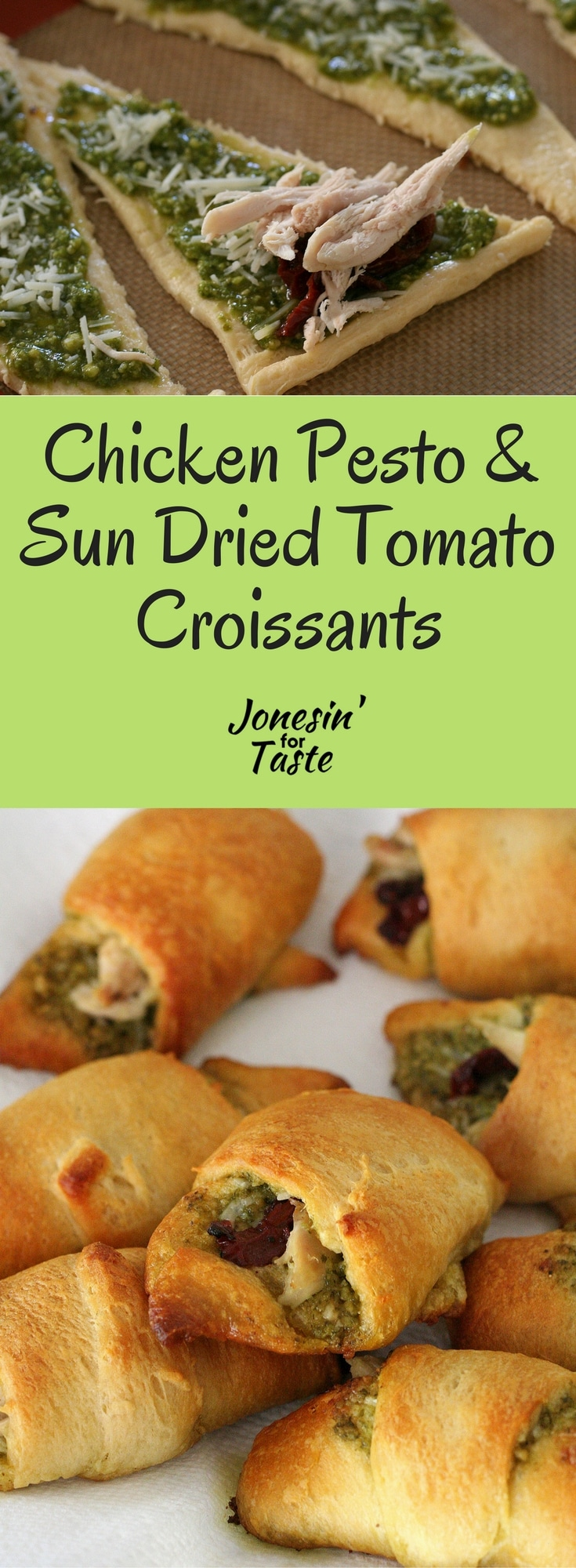 These easy chicken croissants with pesto and sun dried tomato are made with a few simple ingredients for a flavorful savory appetizer.