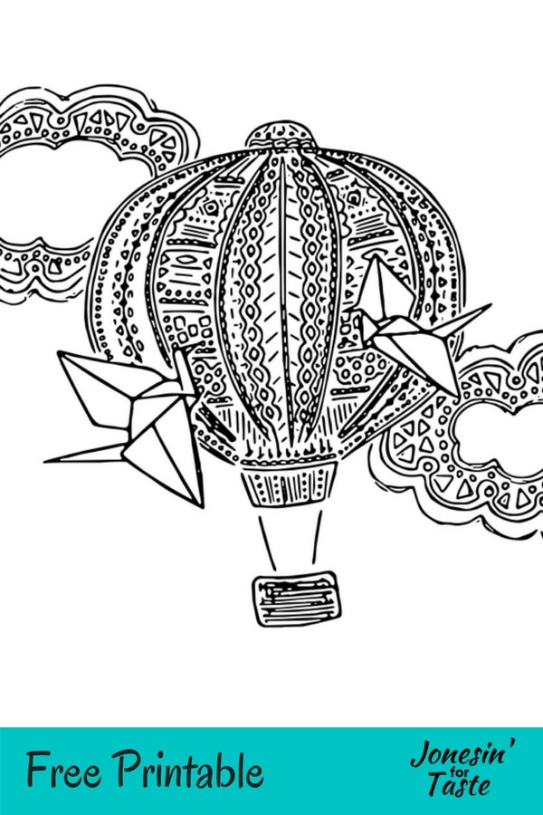 A picture of a hot air balloon coloring page with a free printable banner at the bottom