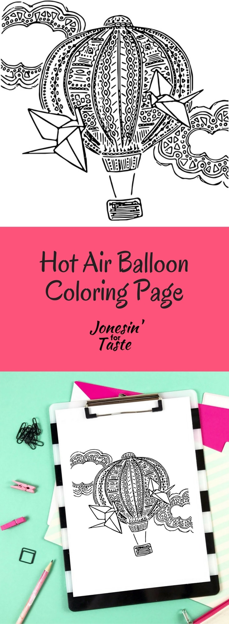 Beat summer boredom with a beautifully intricate Hot Air Balloon coloring page that is perfect for kids or adults.