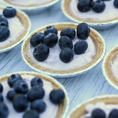 Mini No Bake Blueberry Cheesecakes