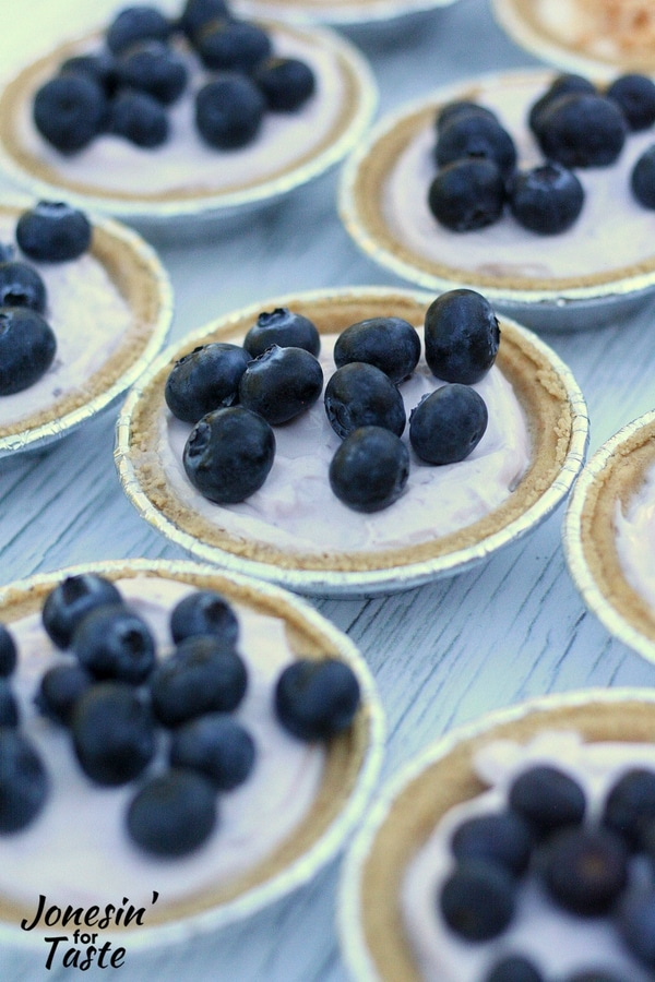 A group of Mini No Bake Blueberry Cheesecakes