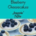 Made with yogurt and cream cheese, these 4-ingredient No Bake Cheesecakes are healthier and perfectly portioned mini pies. #jonesinfortaste #nobakedesserts