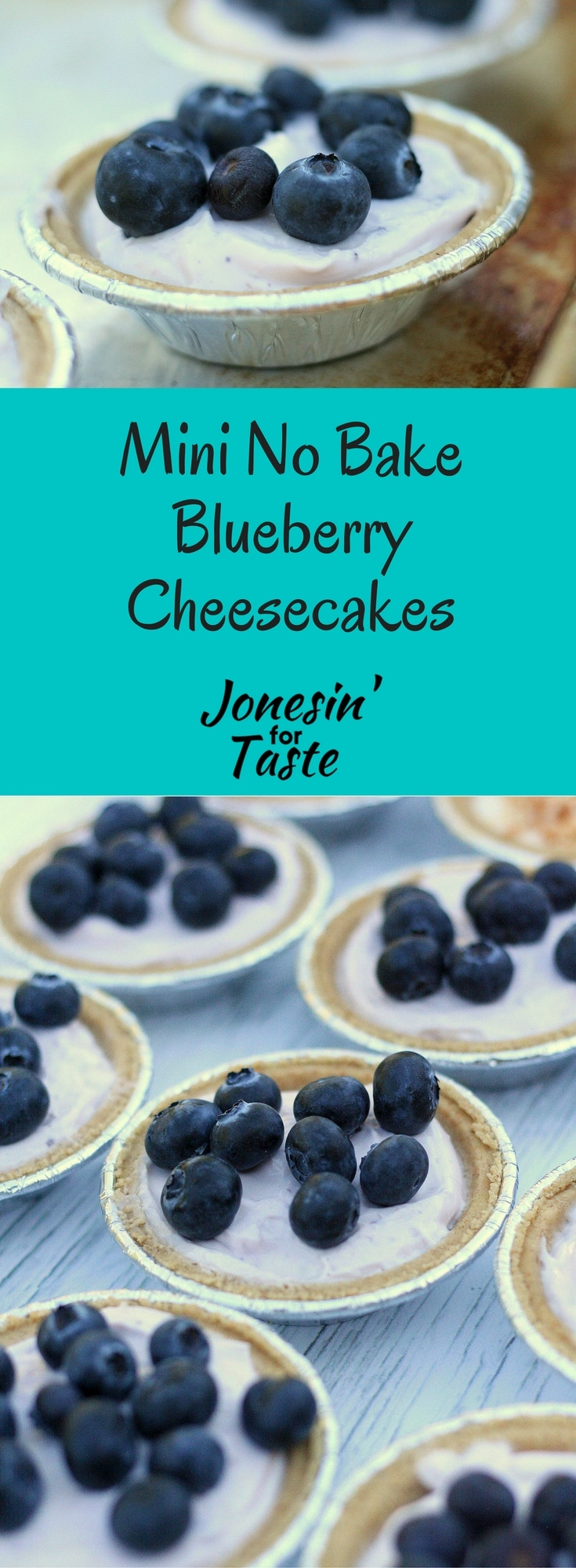 Easy 4-ingredient No Bake Blueberry Cheesecakes are perfectly individual portioned mini pies and a healthier version of your favorite cheesecakes.